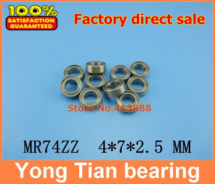Free Shipping 10 PCS MR74ZZ ABEC-5 4X7X2.5 mm Deep groove Ball Bearings MR74 / L-740 ZZ 2017 hot mini bearing 10pcs mr74zz l 740zz bearings p5 4 7 2 5 deep groove ball bearings free shipping