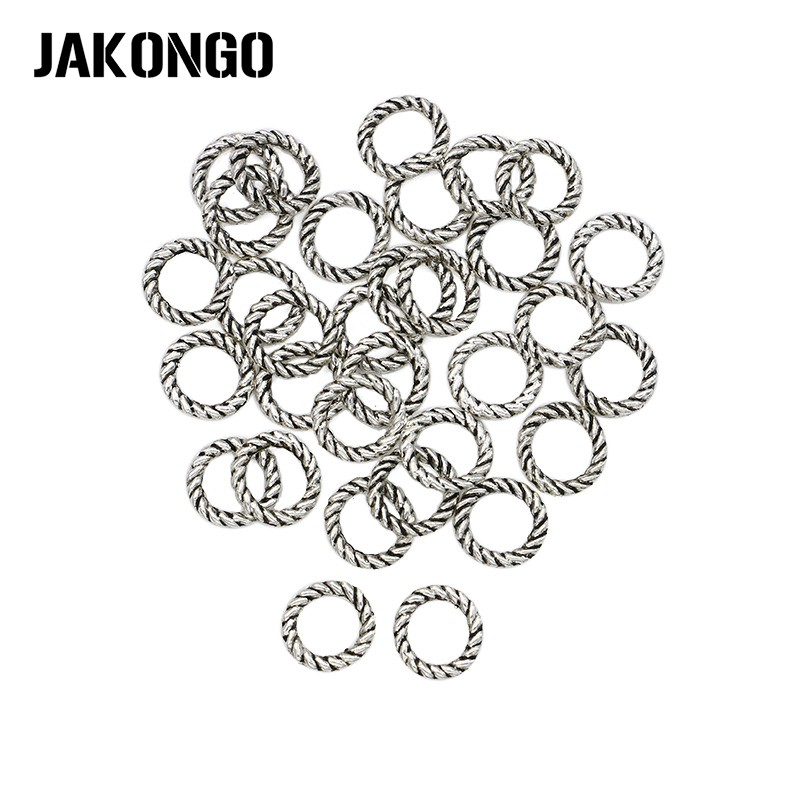 JAKONGO 80pcs Antique Silver Plated Circle Jump Rings Round Connectors for Jewelry Making Stripe Pattern multi stripe pattern slit culottes