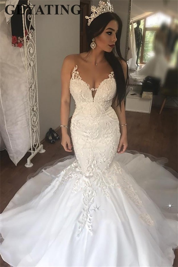 4dd99ee71ea Vintage Lace Mermaid African Wedding Dress 2019 Illusion V-Neck Appliques  Elegant White Bride Dresses Court Train Wedding Gowns