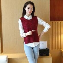 Small fresh vintage preppy style vest sleeveless medium-long sweater