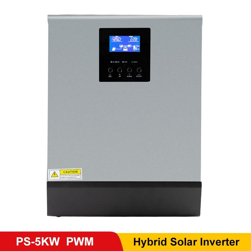 5kva inversor de onda senoidal pura com painel solar pwm bateria carga regulador híbrido inversor 48vdc entrada 220vac saída uso doméstico