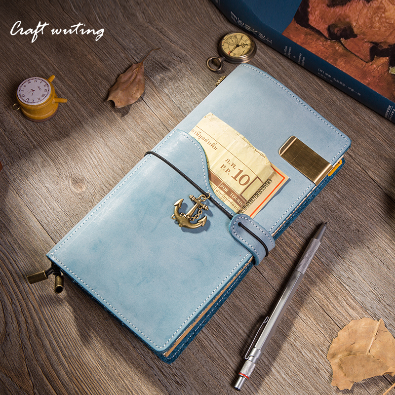 craft multifunctional planner Newest Genuine Leather Design TNotebook Vintage concise style Travel Journal Diary Handmade Gift