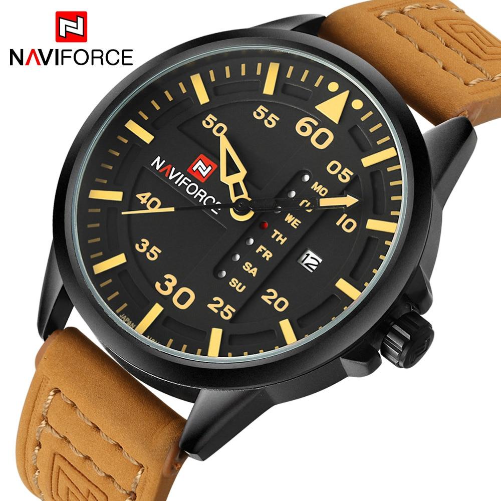 Prix pour Haut De Luxe Marque NAVIFORCE Hommes Sport Montres Hommes de Quartz Date Horloge Homme En Cuir Armée Militaire Montre-Bracelet Relogio Masculino