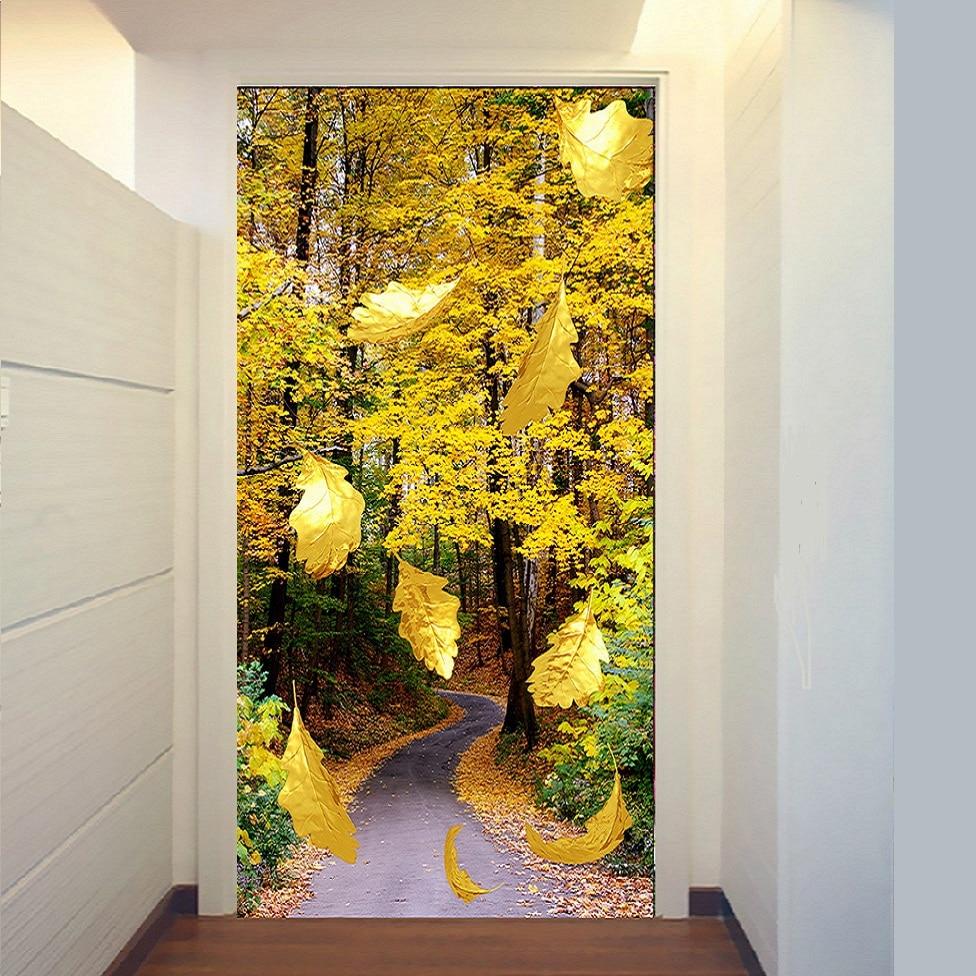 5D diy diamante bordado de oro hojas telón de fondo paisaje fotos - Artes, artesanía y costura