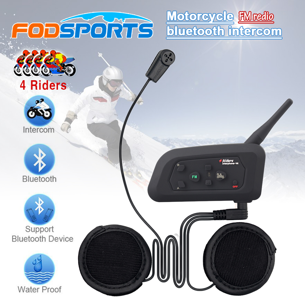 Soft Earphone! 1 pcs V4 BT Interphone Motorcycle Helmet Wireless Bluetooth Intercom Headset for 4 Riders 1200m with FM Radio 2016 newest bt s2 1000m motorcycle helmet bluetooth headset interphone intercom waterproof fm radio music headphones gps