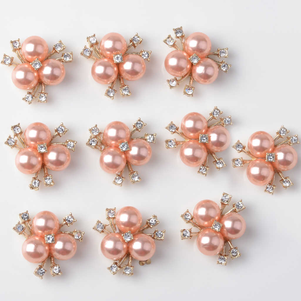 10 Pieces Women Elegant Fashion Rhinestone Necklace Ornaments Pearl Charms Earrings DIY Sewing Buttons Rose gold