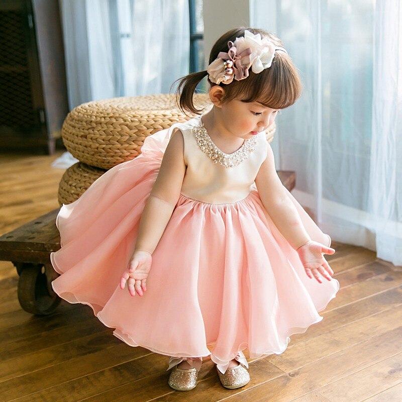 Haute qualité bébé fille robe rose en mousseline de soie robe de baptême pour fille infantile 1 an robe d'anniversaire pour robes de baptême 6-24 M