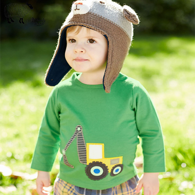 2016 Autumn Kids Boys Long Sleeve Cartoon Car T-shirt Tops Clothes Child Teenage Toddler Boy Cotton Tshirt Tees bobo choses 1-6T
