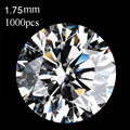 Wholesale 1000 pcs/lot free shipping 1.75 mm Cubic Zirconia white round CZ stone high temperature resistance men made stone