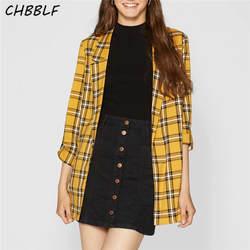 Chbblf Женщины желтый плед свободные длинные блейзер в клетку карманов фигурный вырез горловины Длинные рукава женские топы XDB8263