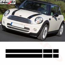 Preto branco vermelho decalques de vinil carro capô listras capa adesivo capa para mini cooper r50 r53 r56 r55
