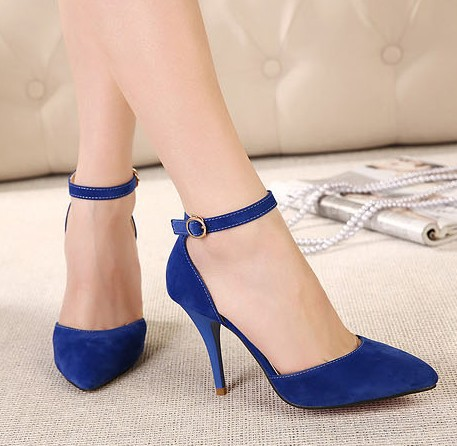 Aliexpress.com : Buy black blue belt buckle 2014 pointed toe pumps ...