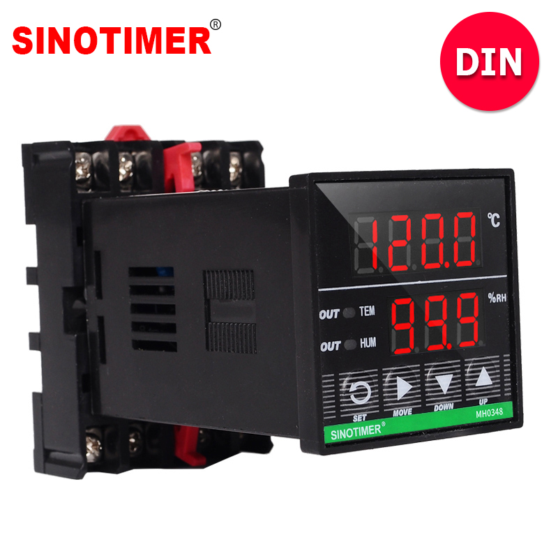 DIN Rail Digital Humidity Controller with 3M UL Listed Cables and Combined Humidity and Temperature Sensor