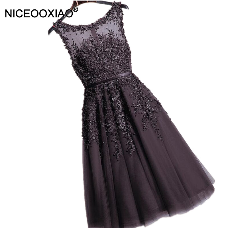 NICEOOXIAO   Dress   Tea-Length Medium Long   Evening     Dress   Black Lace Beaded Applique Party Wedding Formal   Dress   2018 Robe De Soiree