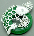 925 Silver fish inlay 30MMX30MM natural green jade Jewelry Pendant