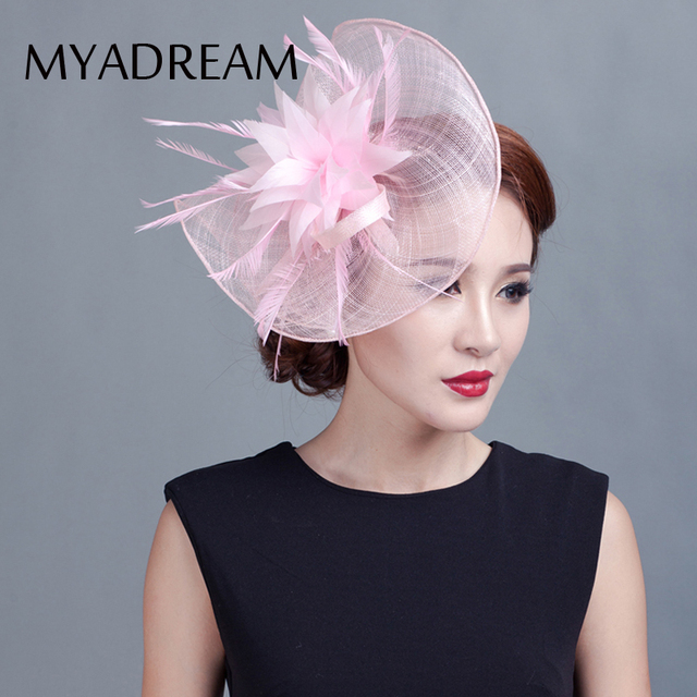 0c8e8a13835 MYADREAM Novelty Design Ladies Fedora Feather Flower Fascinator Hats for  Women Pink Chapeau Mariage Banquet Top Hat Headdress