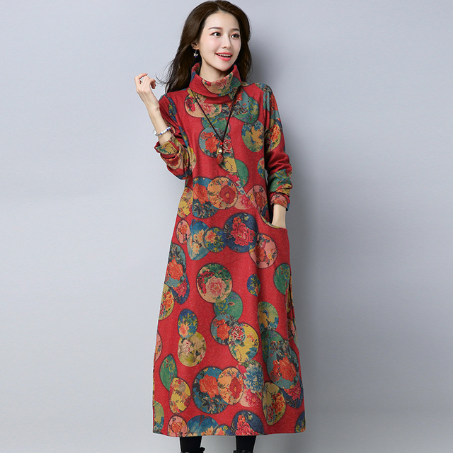2018 Autumn spring womens dresses design models long-sleeved linen dress  female new fashion printing women thickened dress d0bf84627