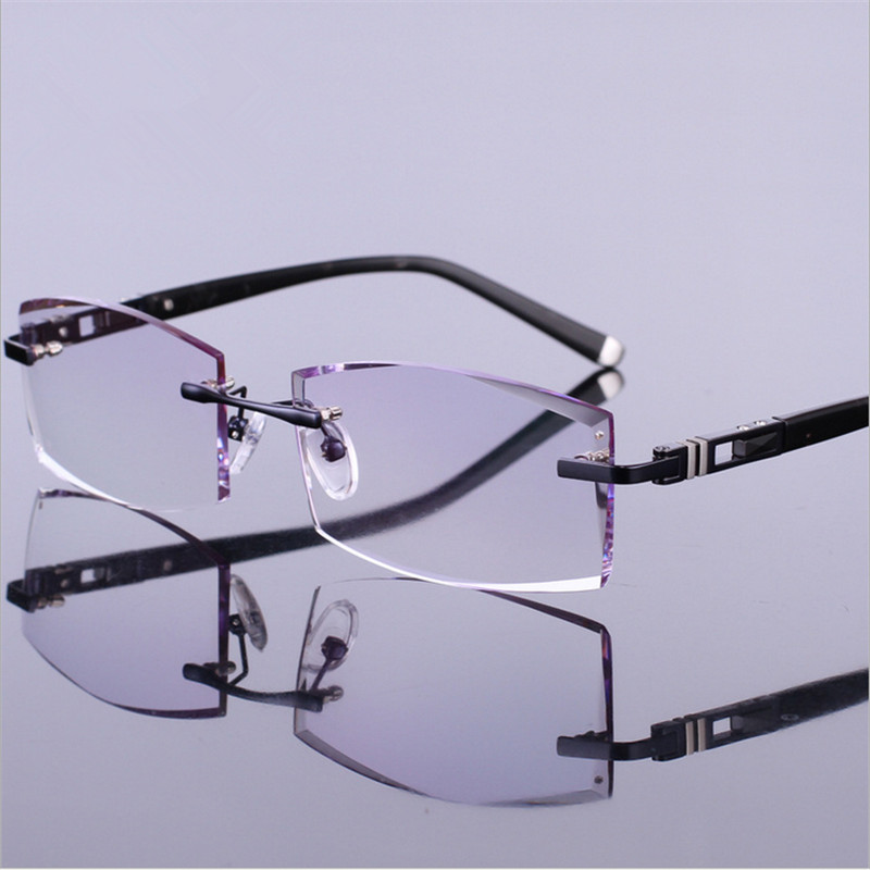 Trimming glasses with gold frames male myopia eyes light commercial titanium rimless finished prescription glasses gradient 0004