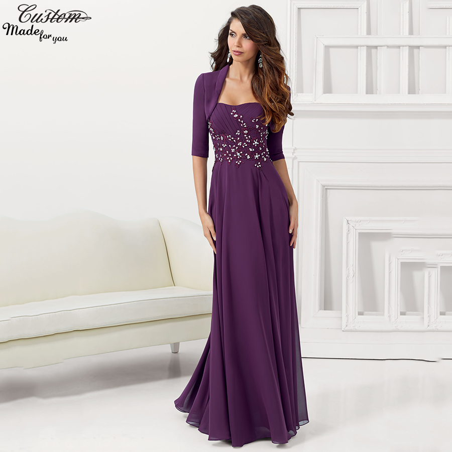 Gorgeous chiffon plus size purple mother of the bride pant for Womens dress jacket wedding