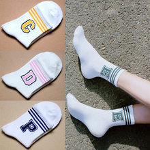 1 Pair Comfortable High Quality Autumn/Winter Women Sports Socks Stripe Letter Sweat Ventilation