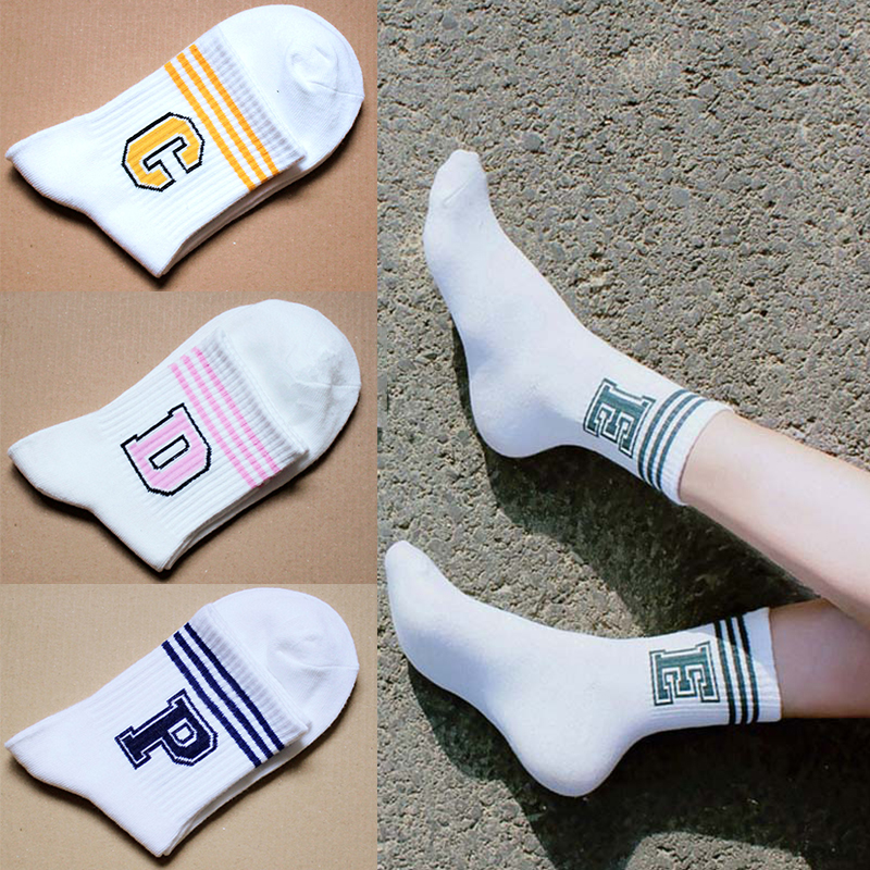 LNRRABC 1 Pair Comfortable High Quality Autumn/Winter Women   Socks   Stripe   Socks   Letter Sweat Ventilation Casual   Socks