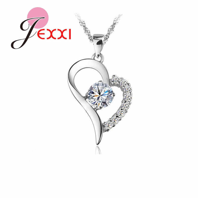 Bulk Collections Pendant Necklace Set 925 Sterling Silver Cubic Zircon Heart Pendant Necklace Lady Jewellery Accessories