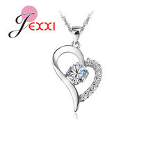 Bulk Collections Pendant Necklace Set 925 Sterling Silver Color Cubic Zircon Heart Pendant Necklace Lady Jewellery Accessories(China)