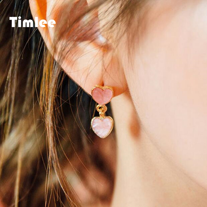 Timlee E111Sweet Cute Pink Heart Drop Earring Fashion Jewelry