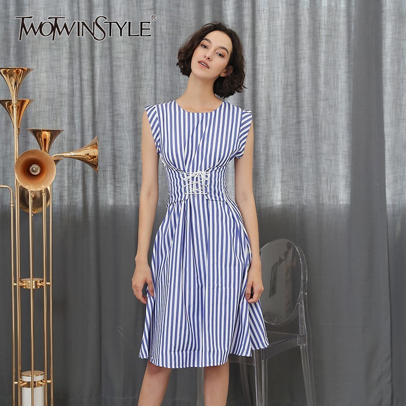 42c147b09cb82 US $24.4 39% OFF|TWOTWINSTYLE Lace Up Dress For Women Striped Sleeveless  Tunic High Waist Long Dresses Holiday 2018 Summer Fashion Korean Clothes-in  ...