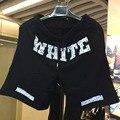 2016 Hot estilo Harajuku Homens De Beisebol preto jogger shorts off white cool Hip Hop streetwear homem calças curtas de algodão Topo