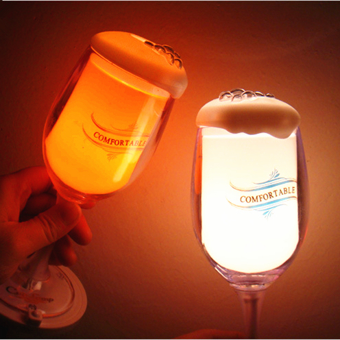 Creative Novelty Light Goblet LED Night Light Bar Party Night Lamp Decoration Table Lamp Red/Green/White/Orange
