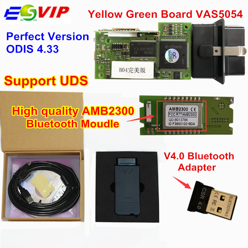 2018 Newest Green PCB VAS5054 ODIS v4.33 With Original OKI Full Chip Bluetooth 4.0 VAS 5054 Support UDS Protocol VAS 5054A 2017 vas5054a vas5054 odis 3 01 with oki vas 5054a full chip bluetooth support uds protocol diagnostic tool for vw seat skoda