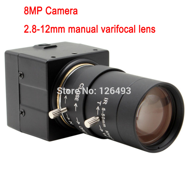 8MP 2.8-12mm manual varifocal lens security cctv camera usb Sony IMX179 metal box usb camera for industrial equipment