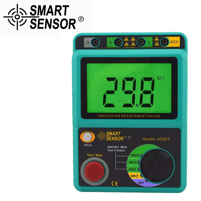 Smart Sensor AS907 Digital Insulation Resistance Tester Megger MegOhm 1K~2000Mohm High Voltage detector meter 250V/500V/1000V  цены