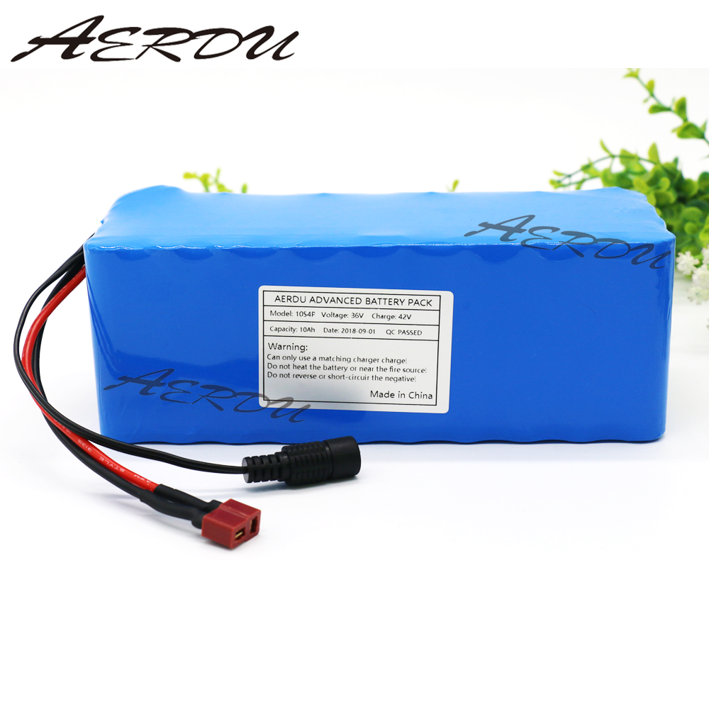 AERDU 36V 10S4P 10Ah 600W High power&capacity 42V18650 lithium battery pack ebike electric car bicycle motor scooter 20A BMS burly short sissy bar