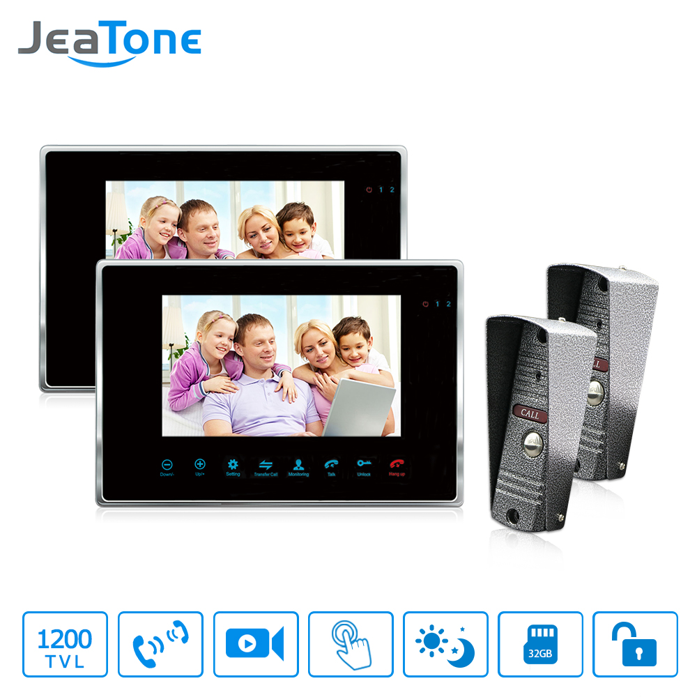 JeaTone 7 Color Video Door Phone Intercom IR Night Vision Camera Doorbell Kit Video for Home Apartment Intercom system. jeatone 7 color video door phone doorbell video intercom doorphone ir night vision camera doorbell kit home apartment security