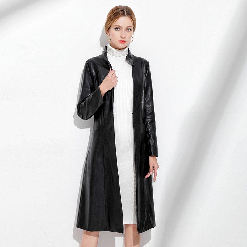 New Autumn Winter Women's Genuine Leather   Trench   High-end Haining Real Sheepskin Coat Female Black Slim Office Long   Trench