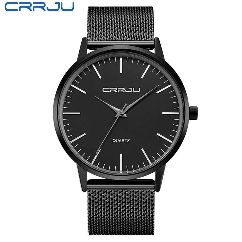f8a3545c4e01 ... 2018 CRRJU Top marca hombres de lujo relojes Casual negro Dial Ultra  delgado de acero inoxidable ...
