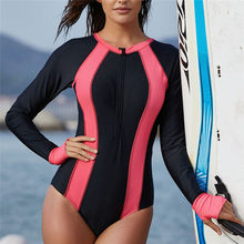 New Swimsuit Women Long Sleeve Surfing Diving Swimsuit One Piece Beach Bathing Suit Sexy Fashion Ladies Surfing Sports Suits 4hz(China)