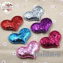 6CM heart Non-woven patches glitter Felt Appliques for clothes Sewing Supplies DIY craft ornament trendy non stick diy ornament