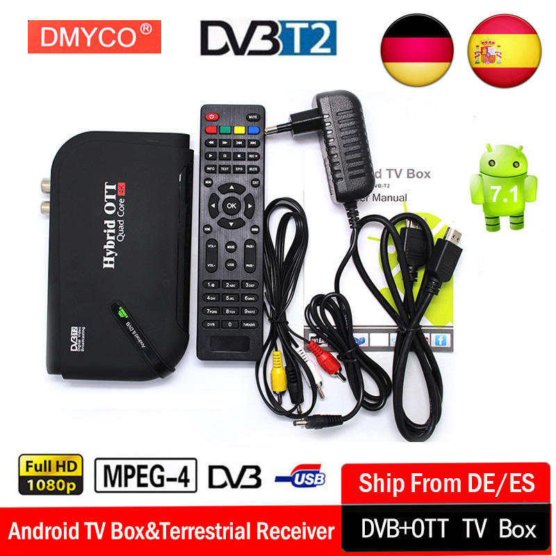 DVB-T2 TV Box android 7.1 S905D Quad Core 64bit DDR3 1GB 8GB 4K HD Wifi 100M LAN USB H.265 Set-top Box DVB T2 Smart media player android 7 1 1gb 8gb dvb t2 quad core ott bt4 0 h 265 mpeg 4 dvb t2 tv tuner support netflix youtube google 4k smart set top box