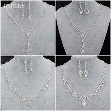 BLIJERY, Модные Ювелирные наборы для невесты, для женщин, горный хрусталь, кристалл, ожерелье, серьги, наборы, для выпускного, свадебные ювелирные наборы