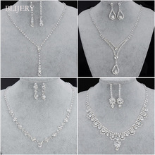 Bridal-Jewelry-Sets Earrings-Sets Crystal Necklace Rhinestone Bridesmaid Fashion Women