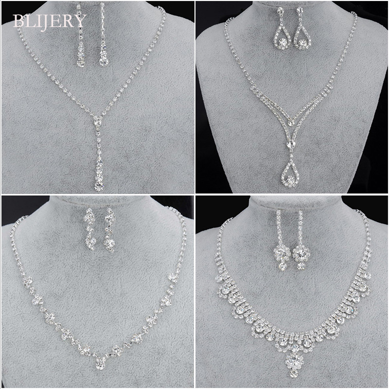 BLIJERY Fashion Bridesmaid Bridal Jewelry Sets for Women Rhinestone Crystal Necklace Earrings Sets Prom Wedding Jewelry Sets