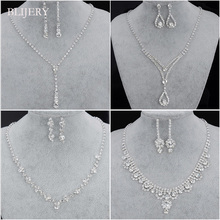 BLIJERY Fashion Bridesmaid Bridal Jewelry Sets for Women Rhinestone Crystal Neck