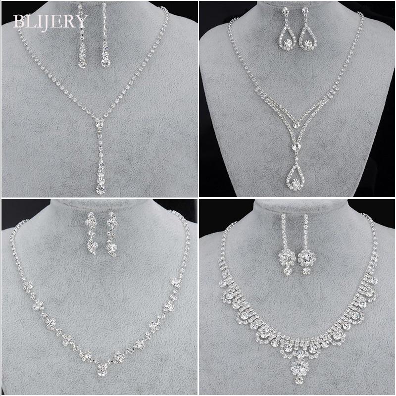 BLIJERY אופנה שושבינה כלה תכשיטי סטים לנשים ריינסטון קריסטל שרשרת עגילי סטים לנשף חתונה תכשיטי סטים
