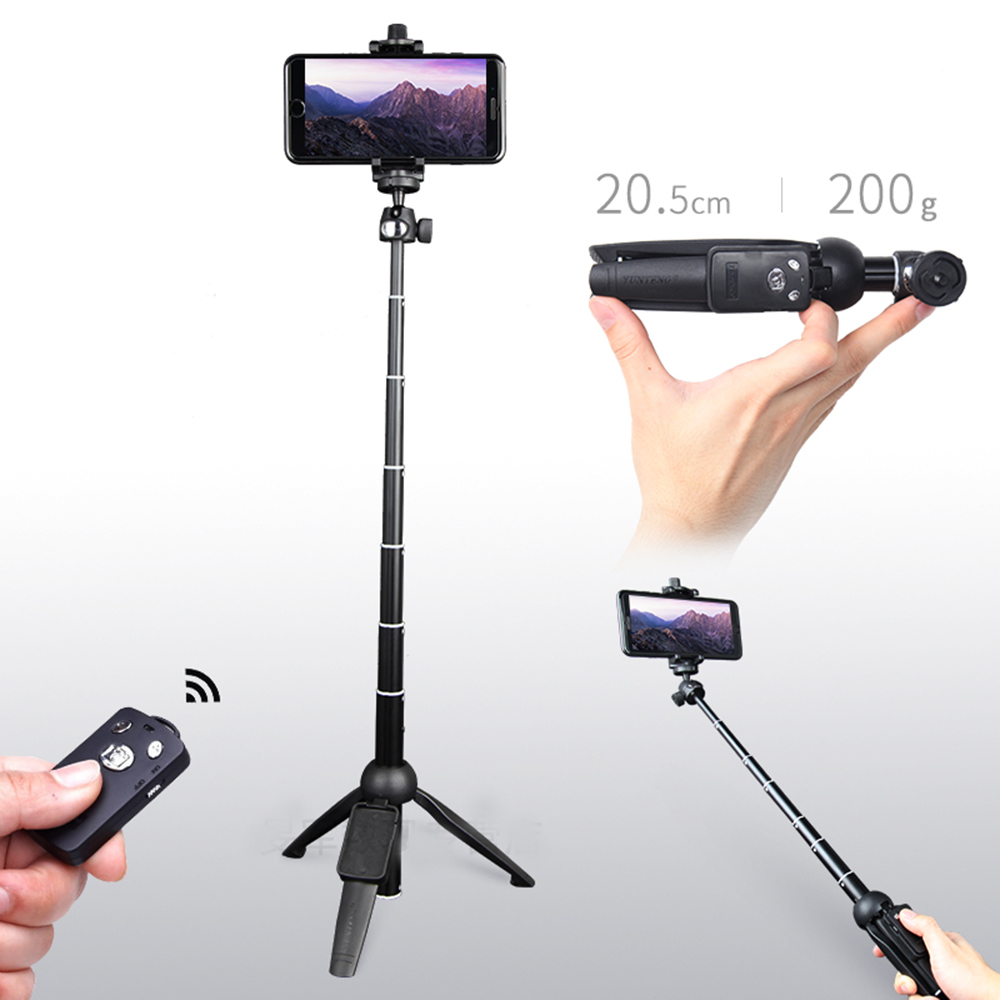 YUNTENG Wireless Bluetooth Remote Phone Stand Holder Mount Extendable Selfie Stick Monopod Tripod for iPhone For Sumsang Android