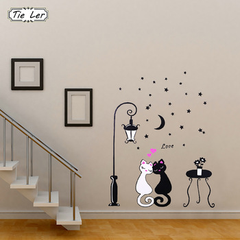 1 pcs Cute Cartoon Couple Cat Flower Vine 3D Wallpaper DIY Vinyl Wall Stickers Rooms Home Decor Art Decals