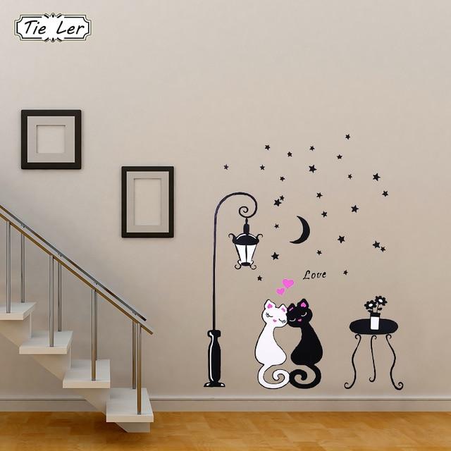 Cute Cartoon Couple Cat Flower 3D Wallpaper 3D Wall Stickers Living Room