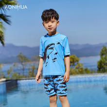AONIHUA Children Swimsuits for Kids Boys Two Pieces Swimwear Beach Swimming Trunks Clothing Toddler Bathing 1037